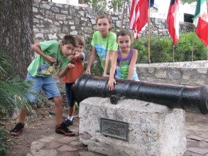 A cannon on display at the Alamo